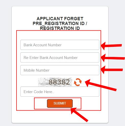 APPLICANT FORGET PRE_REGISTRATION ID REGISTRATION ID