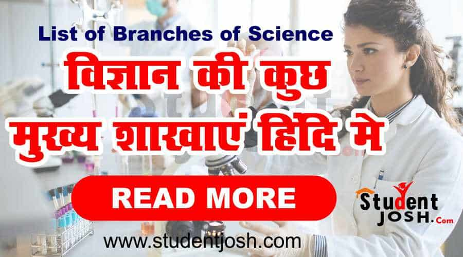 List of Branches of Science gk in hindi