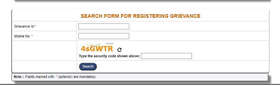 SEARCH FORM FOR REGISTERING GRIEVANCE min